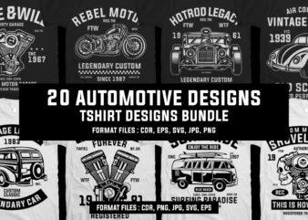 20 automotive tshirt designs bundle