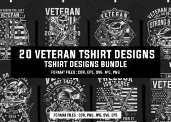 20 Veteran tshirt designs bundle
