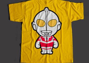 Ultraman The Super Hero, Ultraman Cartoon T-Shirt Design for Commercial Use