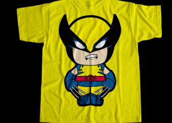 Wolverine The Super Hero, Wolverine Cartoon T-Shirt Design for Commercial Use