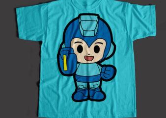 Megaman The Super Hero, Megaman Cartoon T-Shirt Design for Commercial Use