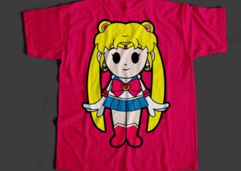 Sailor Moon Usagi The Super Hero, Sailor Moon Usagi Cartoon T-Shirt Design for Commercial Use