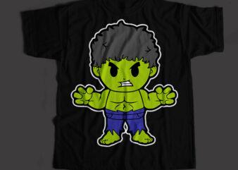 Hulk The Super Hero, Hulk Cartoon T-Shirt Design for Commercial Use