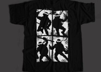 Ninja Team The Super Hero, Ninja Team Cartoon T-Shirt Design for Commercial Use