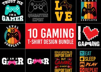 10 Gaming T-Shirt Design Bundle