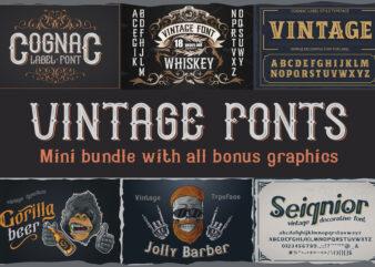 Vintage fonts bundle + all bonus