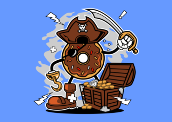 PIRATE DONUT t shirt illustration