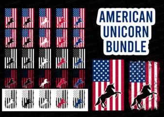 American unicorn flag bundle, USA flag, United state flag T-Shirt Design