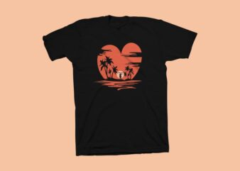 I Love Sunset t shirt design, We love sunset t shirt design, Summer t shirt design for sale