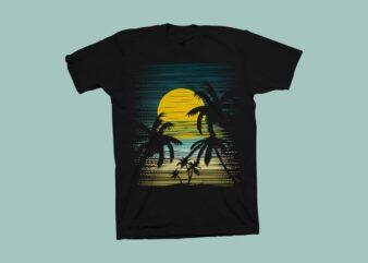 Sunset summer t shirt design, summer design vector illustration, sunset design svg, beach svg, sunset summer vector illustration for commercial use