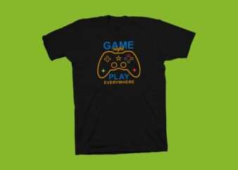 Game night play everywhere vector illustration, gamer t shirt design, gaming vector illustration, gamer svg ready to print, gamer t shirt design for sale