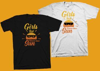 Girls just wanna have sun t shirt design, summer shirt svg, summer t shirt design png, beach t shirt design, summer vector illustration for sale