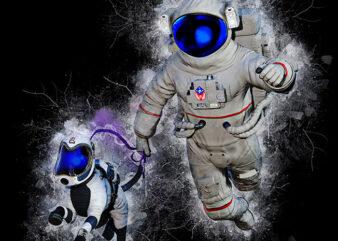 Space Walk t shirt template vector