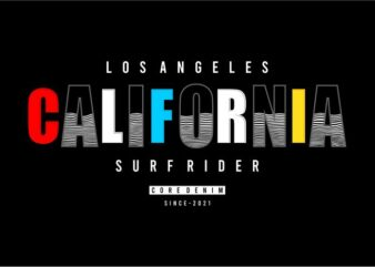 t shirt design graphic, vector, illustration los angeles california surf rider lettering typography