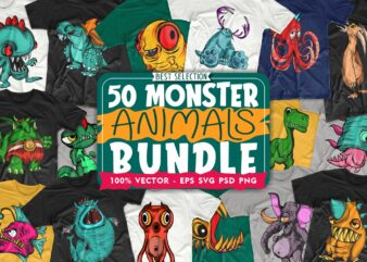 50 Monster animal cartoon vector t-shirt design bundle for commercial use