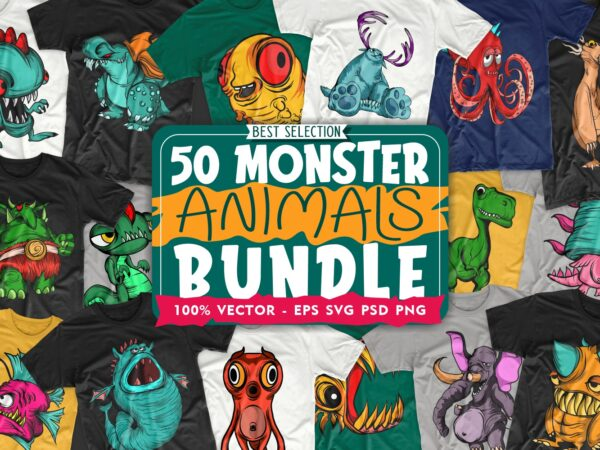50 Monster animal cartoon vector t-shirt design bundle for commercial use