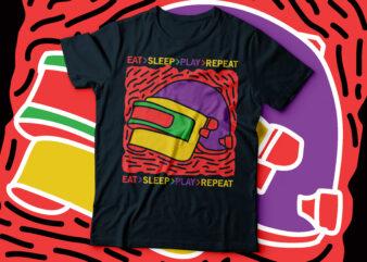 eat sleep play repeat PUBG t-shirt design   PUBG gaming tee