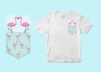 flamingo couple pocket – svg t shirt design