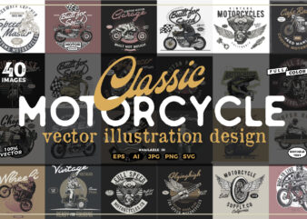40 Vintage Motorcycle T-shirt Design Collection