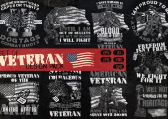 Set of Veteran t-shirt design pack