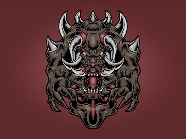 Monster Devil Fang and Horned t shirt designs for sale