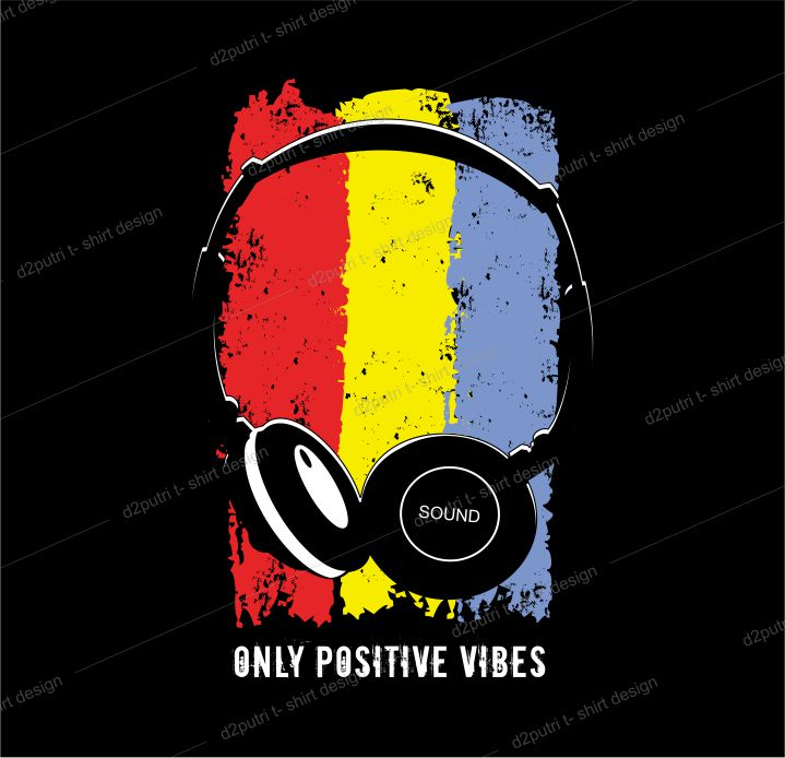 music t shirt design graphic, vector, illustration only positive vibes lettering typography
