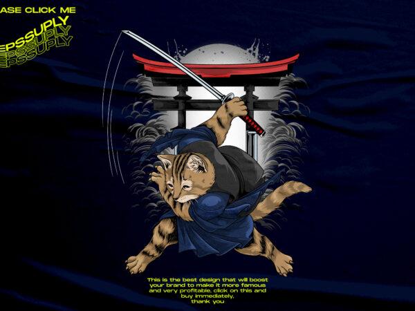 SAMURAI CAT FUNNY DESIGN TSHIRT