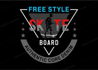 skateboard t shirt design graphic vector illustration