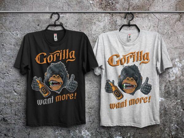 Gorilla beer t shirt design template
