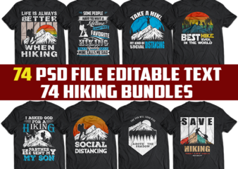 74 HIKING Tshirt designs Bundles png transparent and psd file Editable