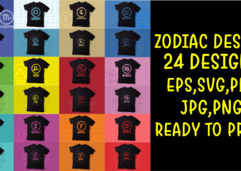 Pack of Zodiac signs colorful t shirts designs ready to print