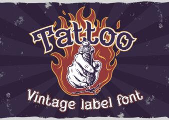 Fire needle -tattoo salon label font