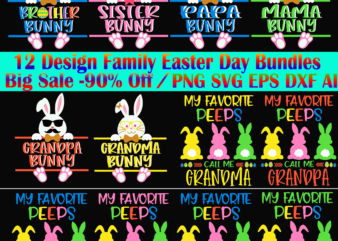 12 Design Family Easter Day Bundles, Happy easter day t shirt template
