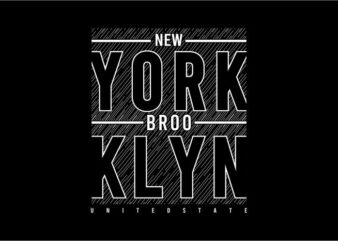 t shirt design graphic, vector, illustration new york brooklyn lettering typography