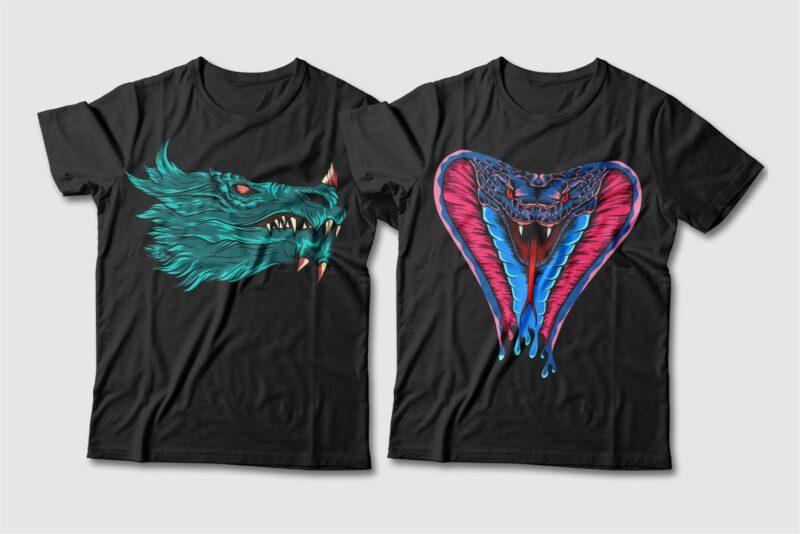 Dragon and Snake Artwork Illustration Vector T-shirt Designs Bundle. Dragon T-shirt Design. Snake T-shirt Design. T shirt Design for POD. Scary Dragon Illustration Pack Collection