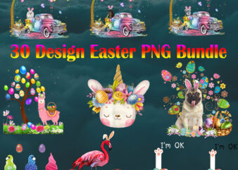 Easter PNG 30 Bundle P1, Happy Easter Day, Easter Png, Easter Bunny Png, Easter t shirt design