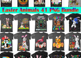 Easter Animals PNG 41 Bundle, Easter animals, Dogs, Cats, Dinosaurs, Unicorns, Easter animals t shirt design, Easter t shirt design