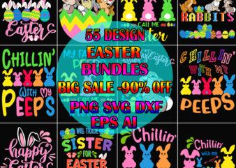 55 Design Rabbit Egg Easter SVG Bundles, Happy easter Day t shirt template, Rabbit Egg Easter t shirt design