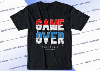 gamer gaming t shirt design graphic, vector, illustration game over lettering typography