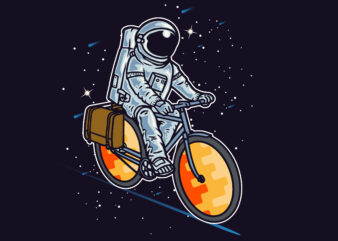 Astronaut Riding in the Space T-Shirt design