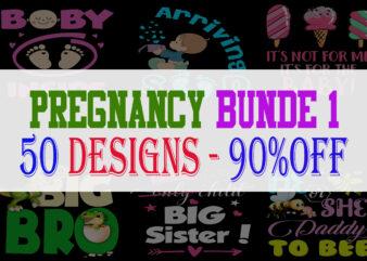 Funny Pregnancy Bundle Part 1 – 50 Designs – 90% OFF