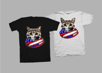 Cat with american flag t shirt design, cat png, cat hero print png, cat distressed, cat t shirt design for sale