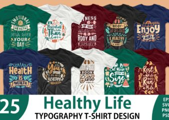 Healthy life quotes t-shirt design bundle vector. Health care quote t shirt designs pack collection