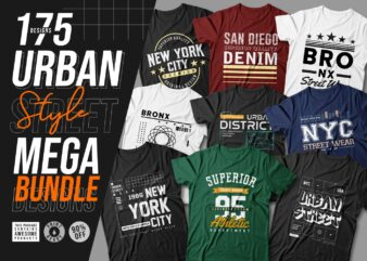 175 Urban street style t-shirt design vector bundle for commercial use. new york city, california, los angeles, the bronx, t shirt designs pack collection. eps svg png