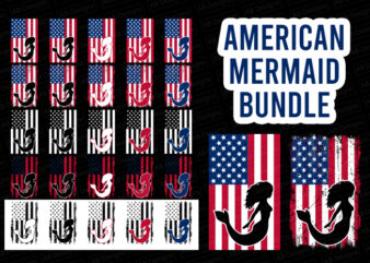 American mermaid flag bundle, USA flag, United state flag T-Shirt Design