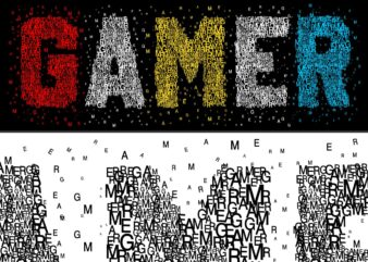 GAMER GAMING GAME t shirt design graphic, vector, illustration GAMER UNIQUE lettering typography