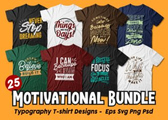 Motivational Quotes Typography T shirt Design Bundle, Saying and Phrases Lettering T-shirt Designs Pack Collection for Commercial Use