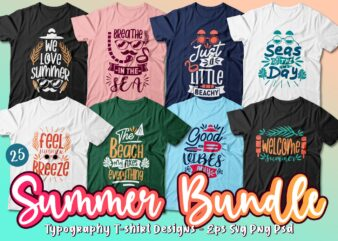 Summer t shirt design quotes bundle. Summer t-shirt design typography pack collection. Summer Vector t shirt design for commercial use. Summer tshirt. Summer SVG