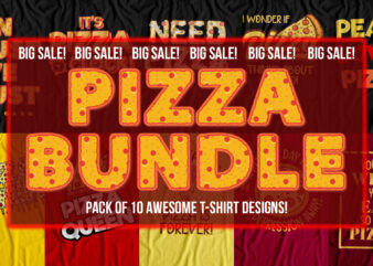 Pizza bundle – pack of 10 awesomely designed t-shirts for pizza lovers – Big Sale
