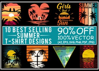 Summer t shirt design bundle, summer svg, summer bundle, bundle summer, summer design bundle, beach t shirt bundle, beach shirt svg, summer print png, 10 editable summer t shirt designs bundle for commercial use